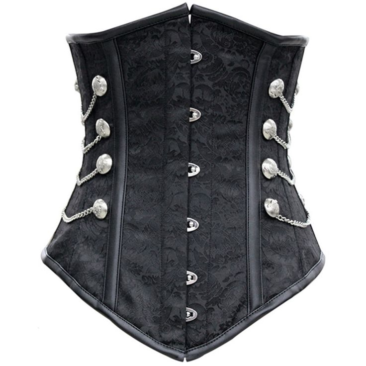 Black Satin Underbust Corset with Chains buckle women gothic steampunk bustiers corsets waist Belly Pattern Steampunk Corset