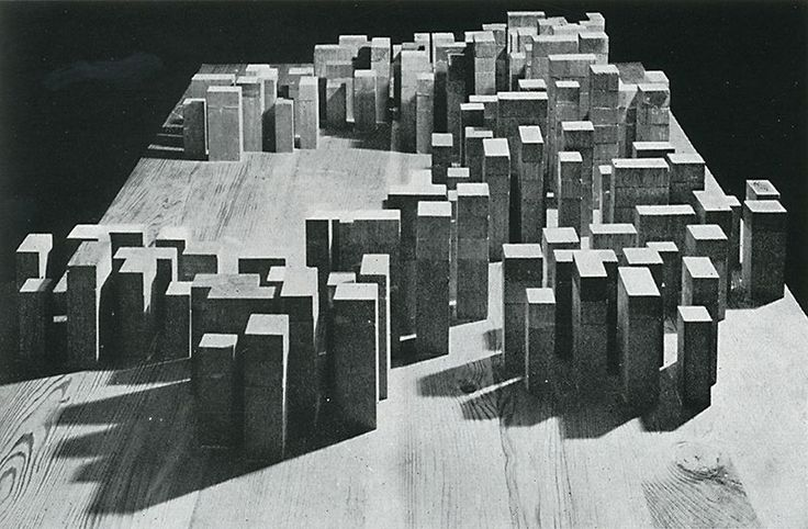 """A City Made of Rooms : The """"Neue Stadt"""" of Köln (1961-1964) by O.M. Ungers - Conceptual model of the first proposal (unbuilt)"""