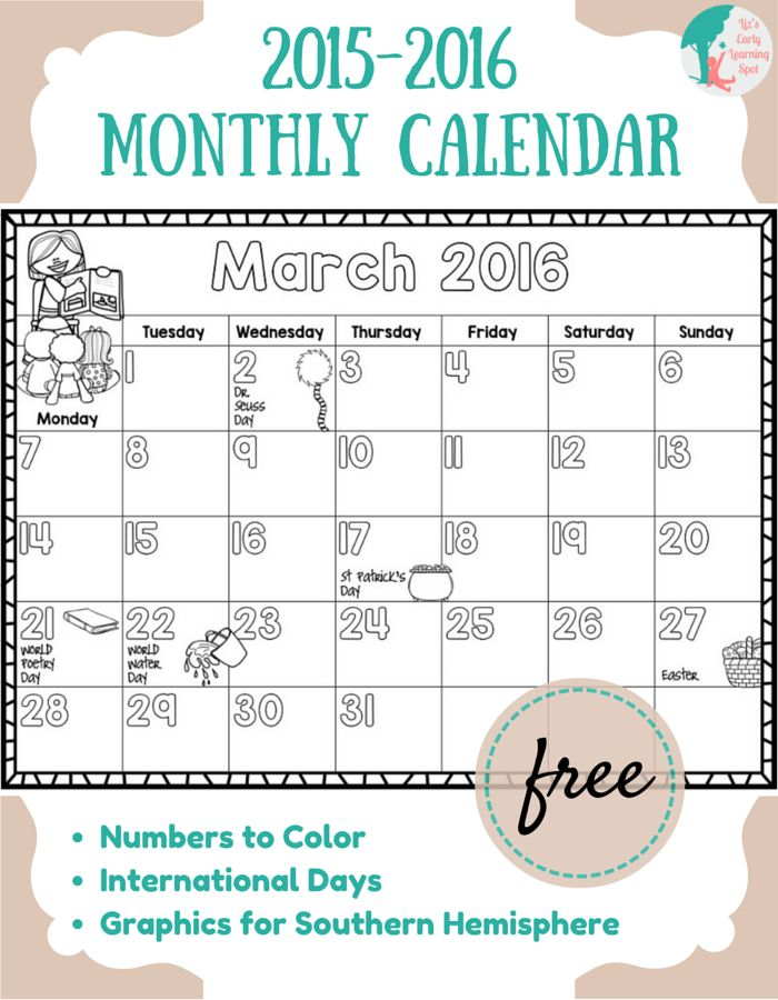 Monthly Calendar For Kids : Free  monthly calendar for kids a well