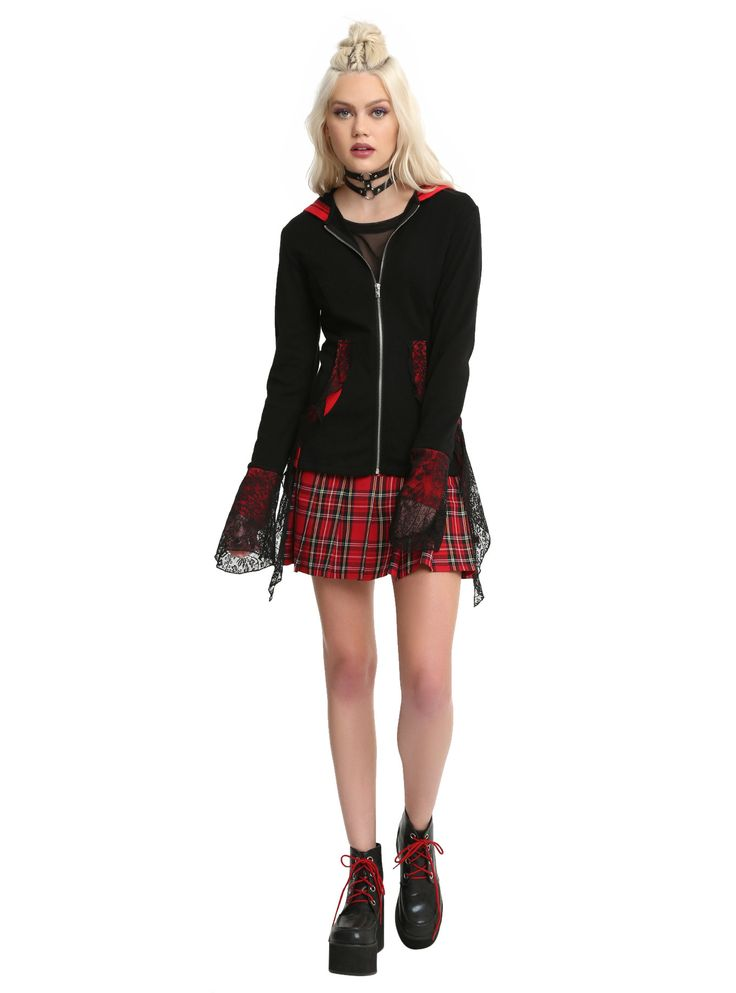Tripp Black & Red Lace Bell Sleeve Lace-Up Back Girls Hoodie,