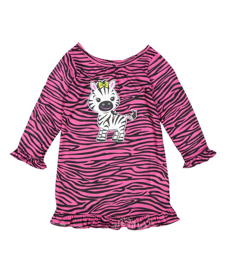 Look what I found on #zulily! Peas and Carrots by St. Eve Pink & Black Zebra Long-Sleeve Nightgown - Kids by Peas and Carrots by St. Eve #zulilyfinds