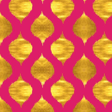 Lela Ikat in Fuchsia and Gold Luster fabric by sparrowsong on Spoonflower - custom fabric/wallpaper