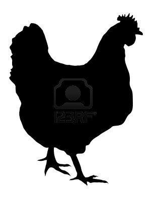 Illustration dans le style de la silhouette noire de la poule Banque d'images
