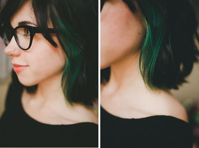 This is exactly what I want. Love the emerald green, love the placement of the color, love the haircut. YES.
