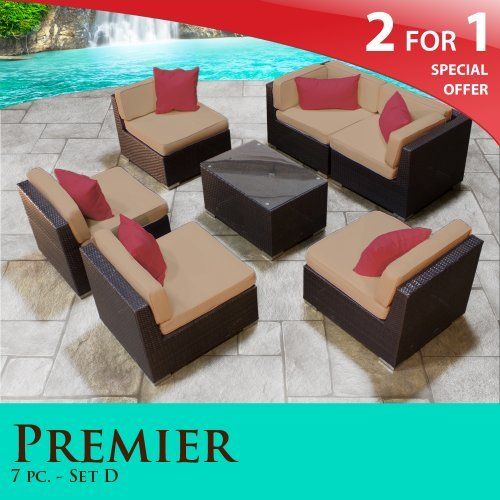 "Premier Outdoor Wicker 7 Piece Patio Set Taupe Covers -07D by TK Classics. $1568.00. Affordable and comfortable Modular Furniture allows for endless arrangement possibilities. 4"" Welted cushions for a luxurious look and feel. Fully Assembled - ready to relax and enjoy. Versatile design for ANY patio size. ""No Sag"" solid wicker bottoms with extra flexible strapping providing long-lasting suspension. 2 for 1 Special: Purchase 1 of our Classic Patio Sets and receive a 2nd set of..."