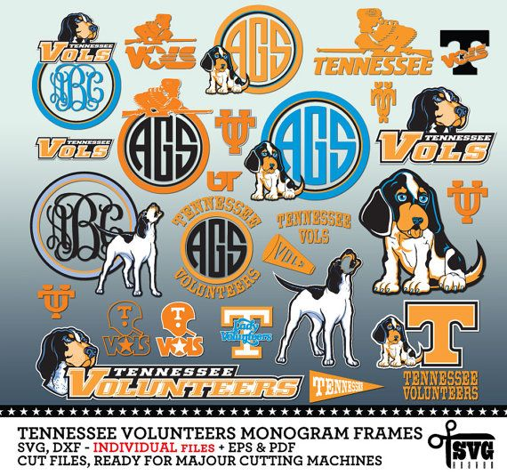 Tennessee volunteers monogram frames svg dxf eps png cut files