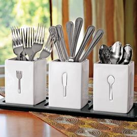 Flatware Party Set, Stainless Steel Silverware w/Holders | Solutions