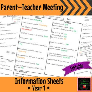 These student information sheets are invaluable for your Parent-Teacher Meetings or Parent Interviews. This product is aligned to Year 1 standards - one sheet for Semester 1 and a different sheet for Semester 2. These Parent Information Sheets are in a PowerPoint file so that they are EDITABLE for
