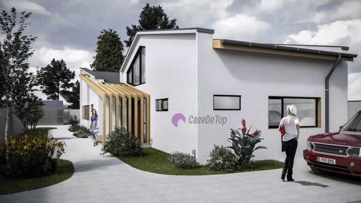 Casa parter situata pe limita de proprietate- Vedere zona acces principal   Modern single-family dwelling 155.00 sq.m- Street view  