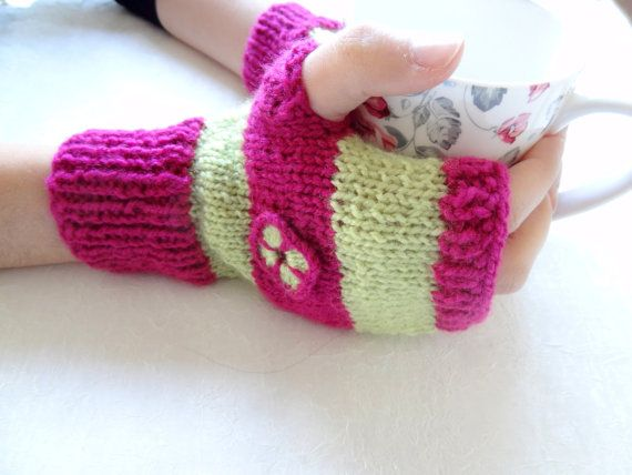 FuchsiaGreen Knit Fingerless Gloves  Warm Winter by SwomanStore