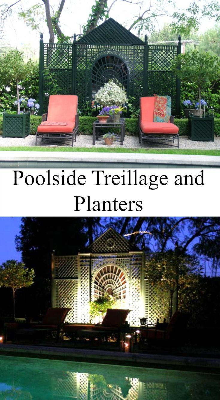 Poolside Treillage And Planters In Wood By Accents Of France