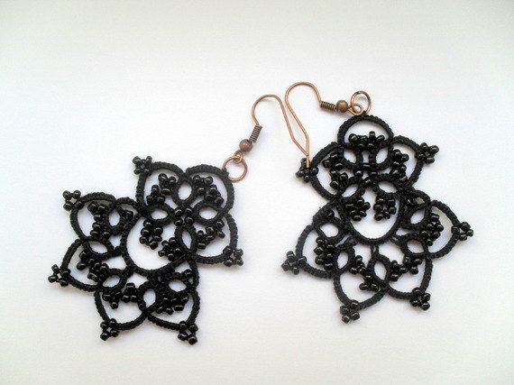 Lace tatting earrings, Black lace earrings, Lace tatted jewelry, Gothique lace earrings, Tatted earrings with glass beads by CarmenTattedLace on Etsy