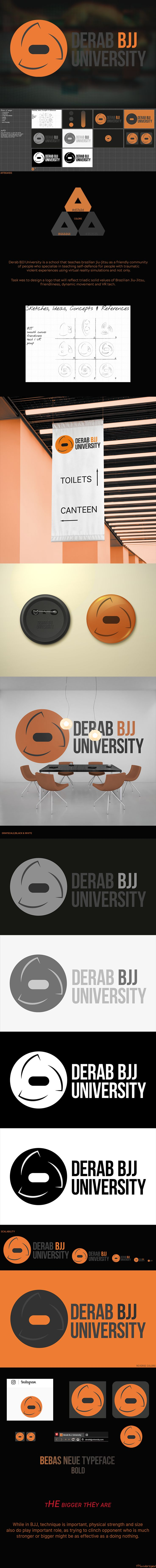 Derab BJJ University is a school that teaches Brazilian jiu-jitsu as a friendly community of people who specialize in teaching self-defense for people with traumatic violent experiences using virtual reality simulations and not only.  Follow if you want to see more!  #simplelogo #university #martial #arts #bjj #brazilian #jiujitsu #grayscale #orange #grey #black #selfdefense #derab #sketches #vr #trauma #school #training