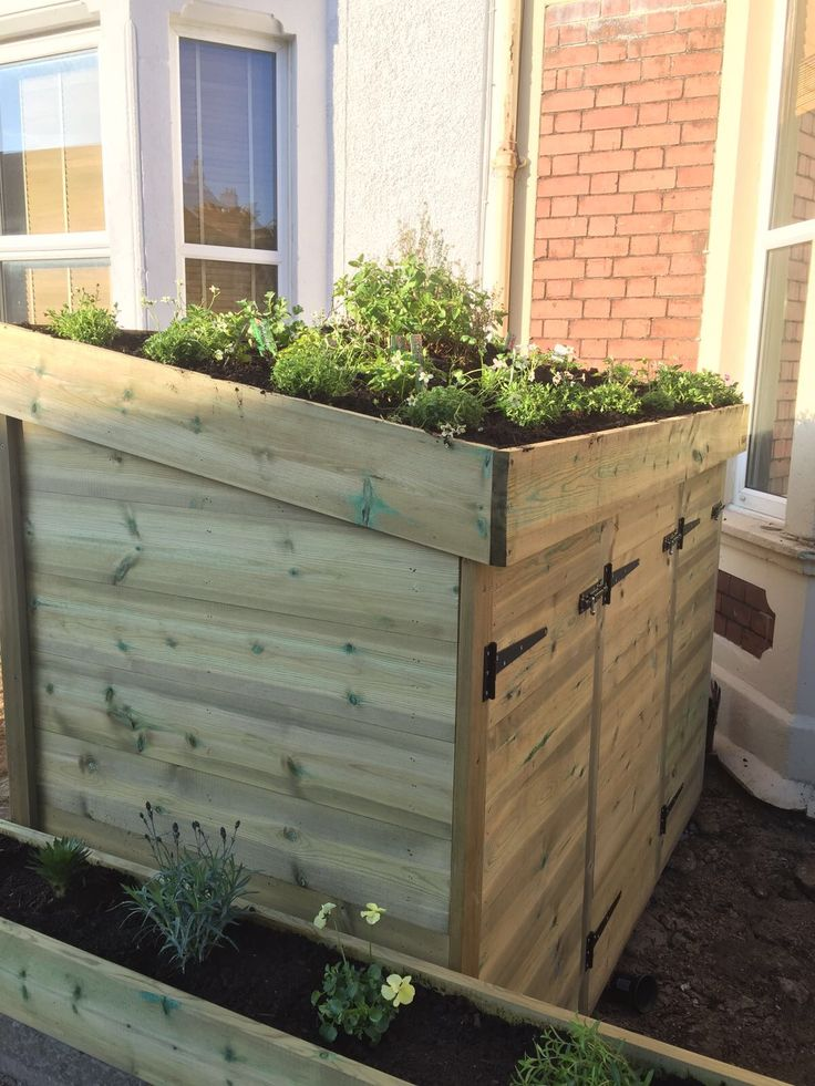 Green roof bin, recycling and log / coal store - custom made in Bristol by Bluum...