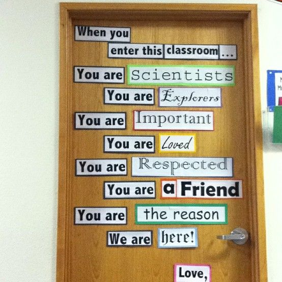 Confessions of a Teaching Junkie: Pinterest Inspired DIY Projects - Love this door for first day. We are supportive would be a nice frame.