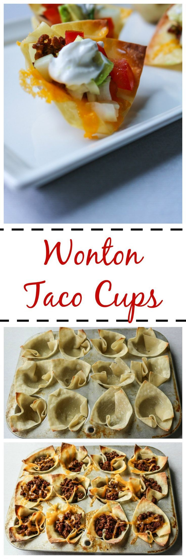 Wonton Taco Cups: Wonton wrappers are baked into little cups and then stuffed with taco meat and cheese and topped like any taco. A perfect party treat. Plus a round-up of recipes perfect for Football Viewing!