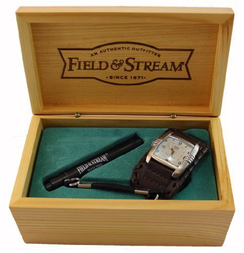 Field & Stream Outdoor Rugged Watch With Flash Light Key Ring by wat-fieldstream-bfs37-6-50. $25.00. Field & Stream Outdoor Rugged Watch With Flash Light Key RingBrown Leather Watch BandStainless Steel BackWater Resistant To 30FTFeatures: Hour, Minute, Second Hand, and DateWatch Band Measures Approximately: 10 x 0.75 (Inch)Watch Face Measures Approximately: 1.5 Wide (Inch)Flash Light Key RingFlash Light Features LED Measures Approximately: 3.75 x 0.5 (Inch)Watch...