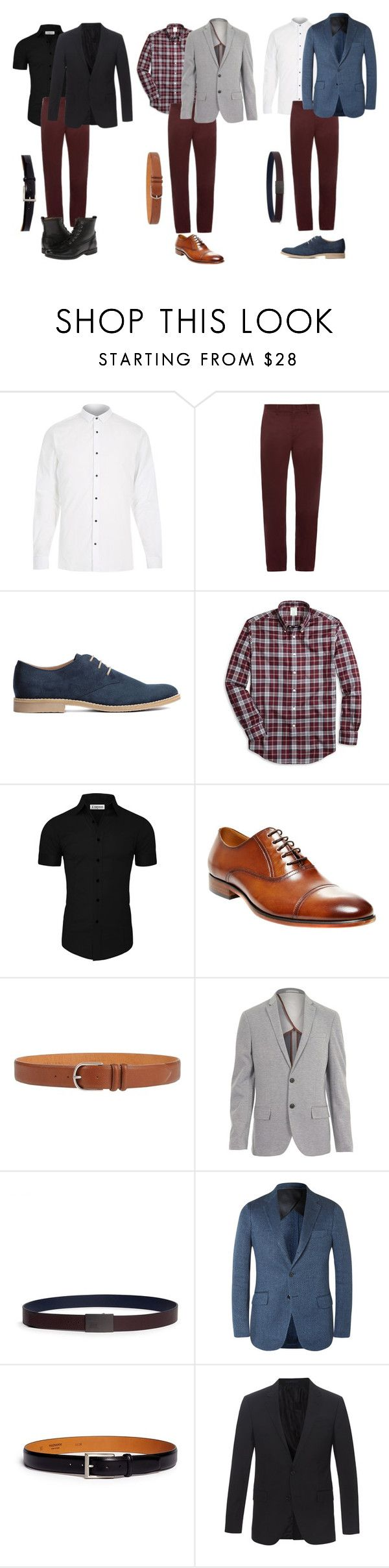 """Men burgundy style pants"" by baloure ❤ liked on Polyvore featuring River Island, Burberry, H&M, Brooks Brothers, Steve Madden, Orciani, Armani Collezioni, Magnanni, Lanvin and Frye"