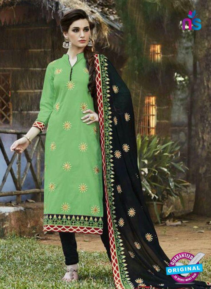 Buy SC 13465 Green and Black Cambric Cotton Designer Fancy Suit Online.