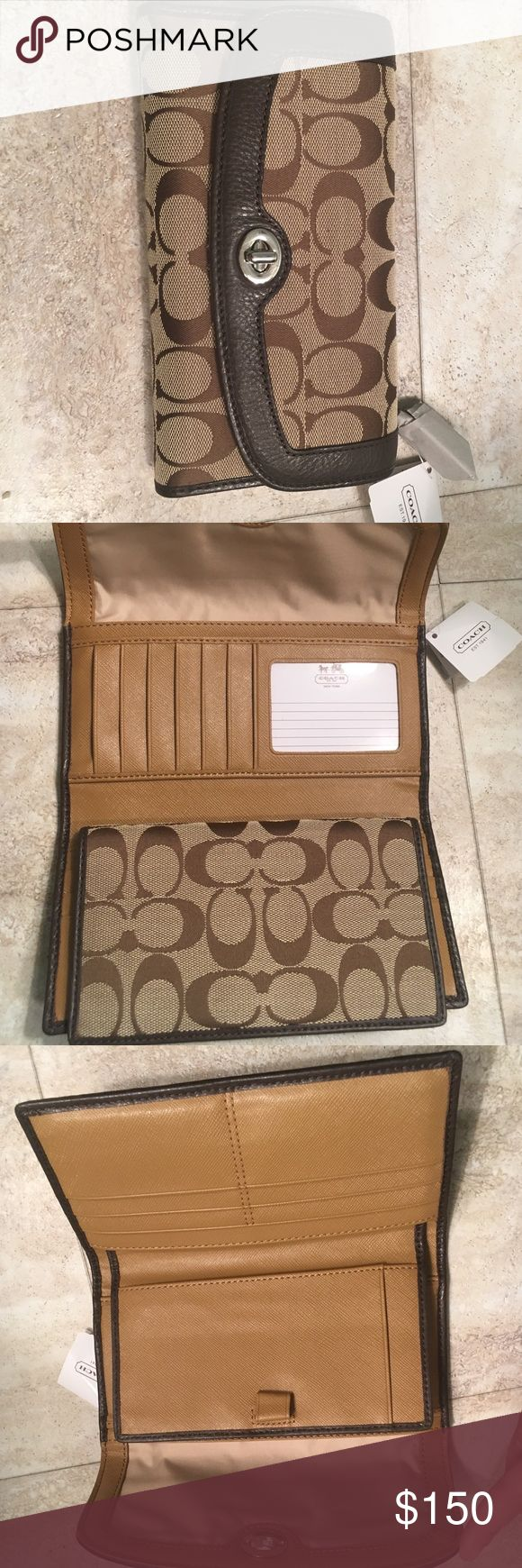 Coach Wallet with checkbook holder! *NWT* Coach Wallet; 14 card holders, removeable checkbook holder Coach Bags Wallets