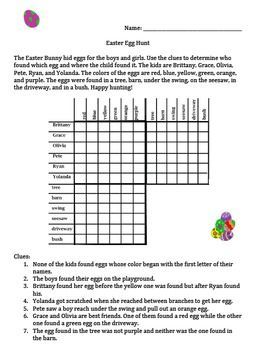 Easter Egg Hunt Logic Problem for Gifted and Talented