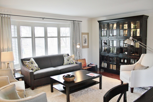living room, library, bookcase, grey couch