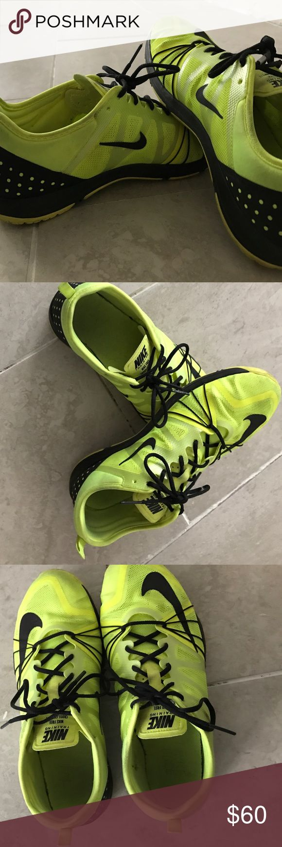 Nike free cross training shoes Bright yellow Nike free cross training shoes, amazing for lifting, for HIIT workouts for anything really, normal wear and tear, doesn't come in nike box. make an offer through offer button, :) thank you. Nike Shoes Sneakers