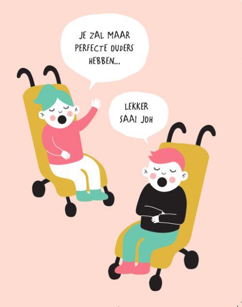 """Illustratie uit het boekje """"Relax mama"""" Auteur: Elsbeth Teeling & Gerard Janssen"""