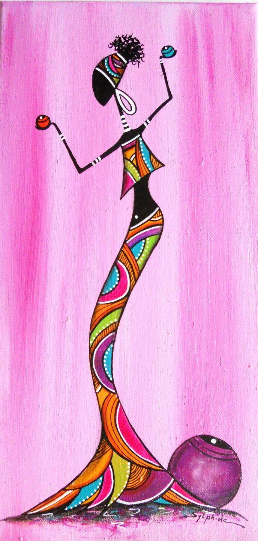 """Tableau d'une """"Rasta'' sur fond rose habillée de couleurs"""