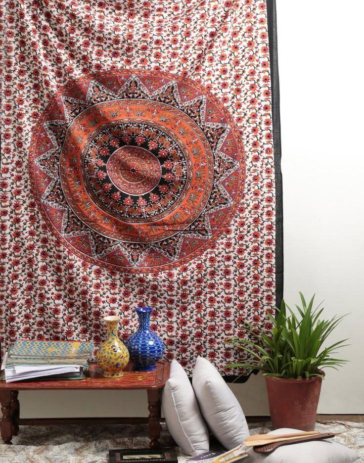 Orange Star Hippie Tapestry Mandala Bohemian Tapestries Indian Dorm Decor Psychedelic Tapestry Wall Hanging Ethnic Decorative Tapestry By Rajrang: Amazon.co.uk: Kitchen & Home