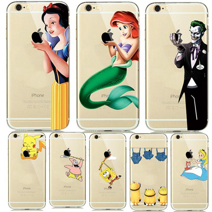 Fashion New Soft TPU Silicone Covers for fundas iphone 7 7plus 6 6S 5 5SE Cartoon Animals Phone Cases Pokemons Mermaid Capinhas