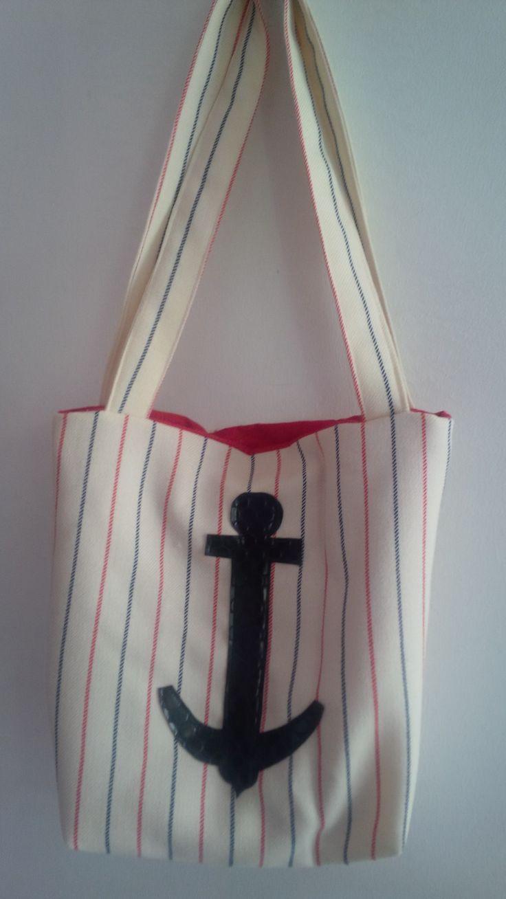 Sac cabas marin beige à rayures bleues et rouges : Autres sacs par miss-cup-of-tea