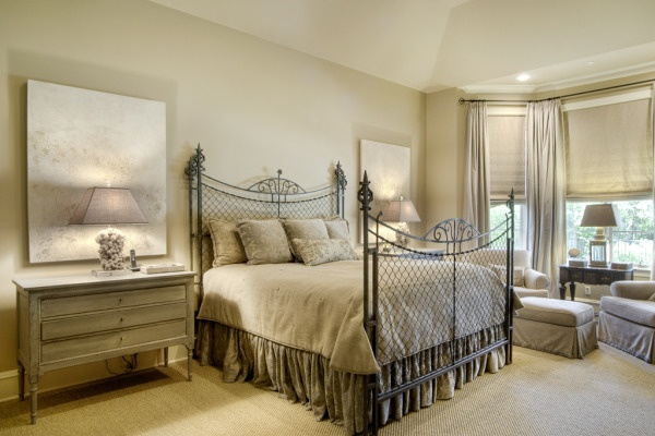 A French Chain Link Fence Reconstructed Into A Bed Frame Gives This Master Bedroom A Vintage
