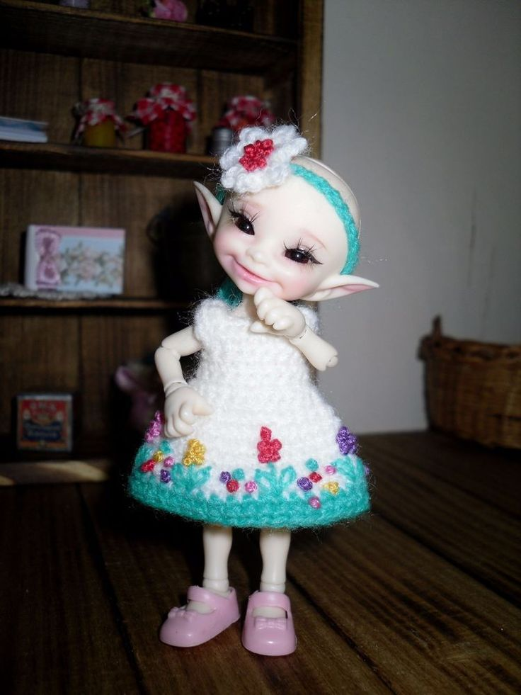 Crochet and embroidered dress and headband for Realpuki doll BJD | eBay