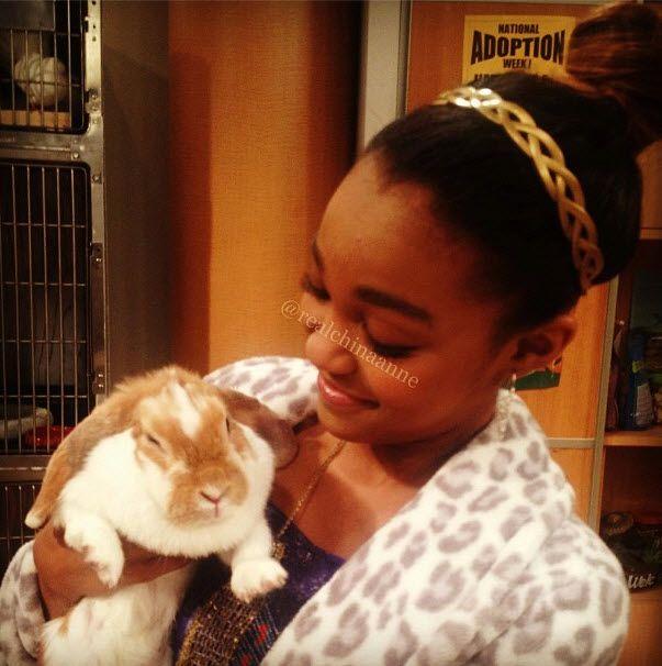 Photo: China Anne McClain With A Rabbit