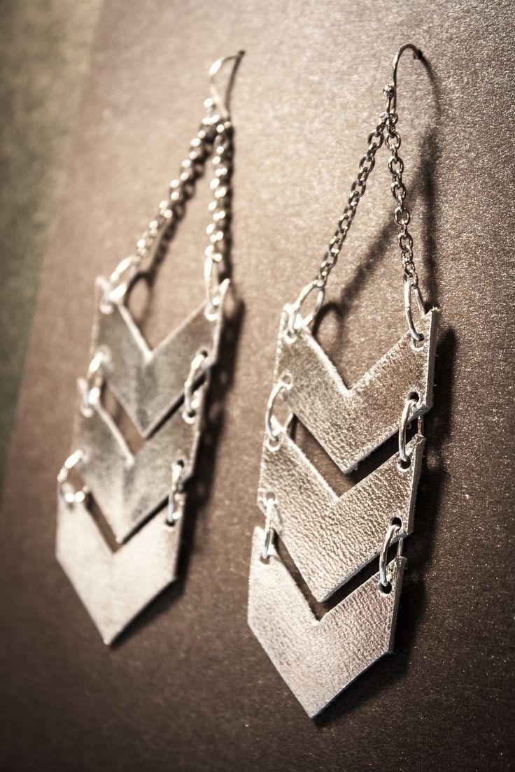 Scout Silver Leather Chevron Earrings