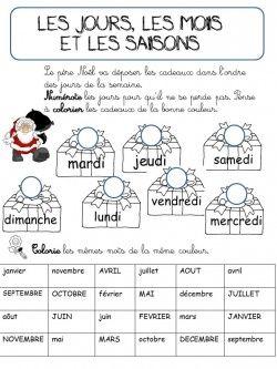 CP - EXERCICES SEMAINE MOIS SAISONS REVISIONS - La classe de Corinne