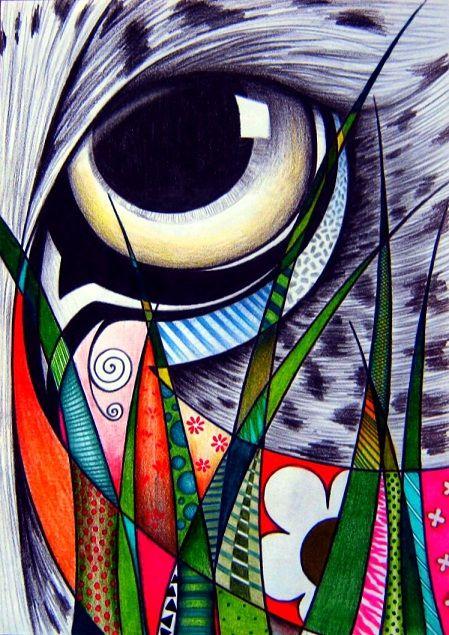 Onça Pintada  Lápis de cor e grafite sobre papel