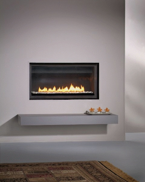 Fireplace Wall Flush Wall With Glass Tile And Metal: LDF Series Flush, Direct-vent Gas Fireplace.