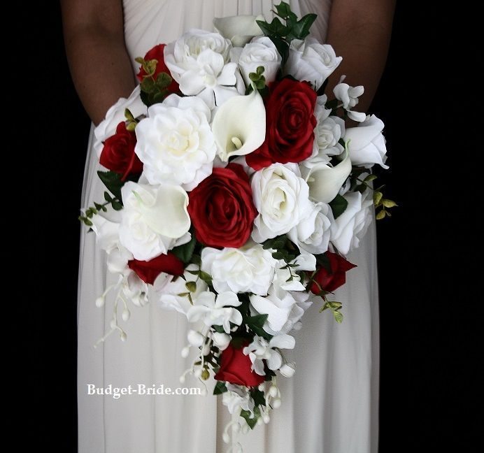 Image result for white bouquet with greenery and red