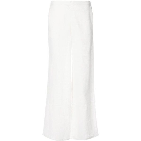 Onia Mila Beach Trousers (10,205 INR) ❤ liked on Polyvore featuring pants, white pants, beach trousers, white beach pants, cotton linen pants and white trousers