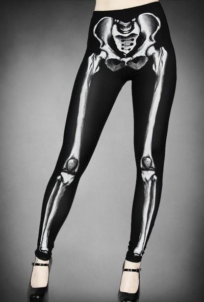 Goth Skeleton Print Graphic Leggings - Leggings