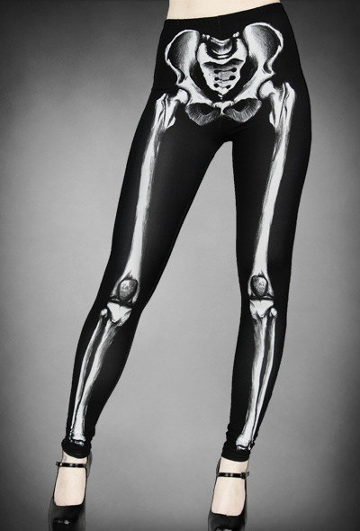 Goth Skeleton Print Graphic Leggings - Leggings