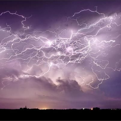 Lightning from a supercell thunderstorm in Central City, Nebraska