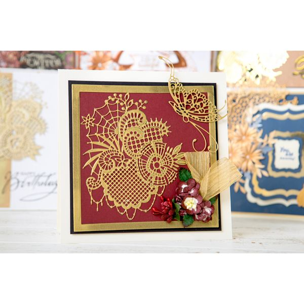 Tattered Lace Goldwork Lace Collection - Includes Web, Floral and Butterfly Dies (150593) | Create and Craft