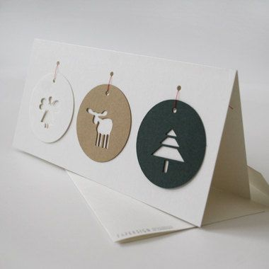 "christmas card ""TAGS"" recycled board from GMUND with 3 tags"
