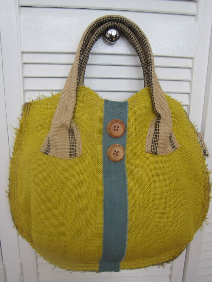 Latest hessian round bag available - french linen trim and antique buttons, AUD$55