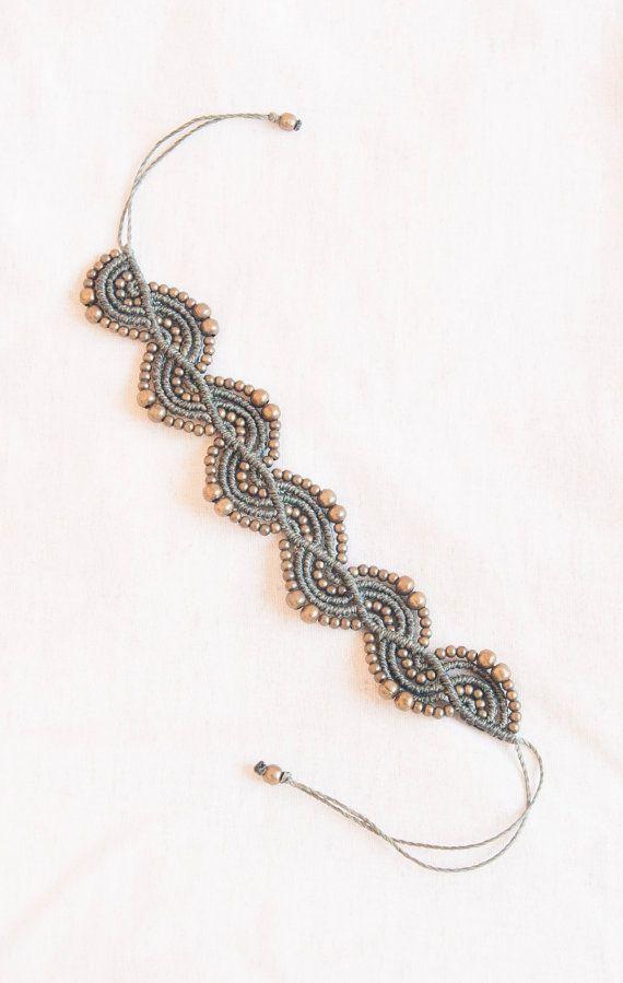 Green bracelet with bronze beads