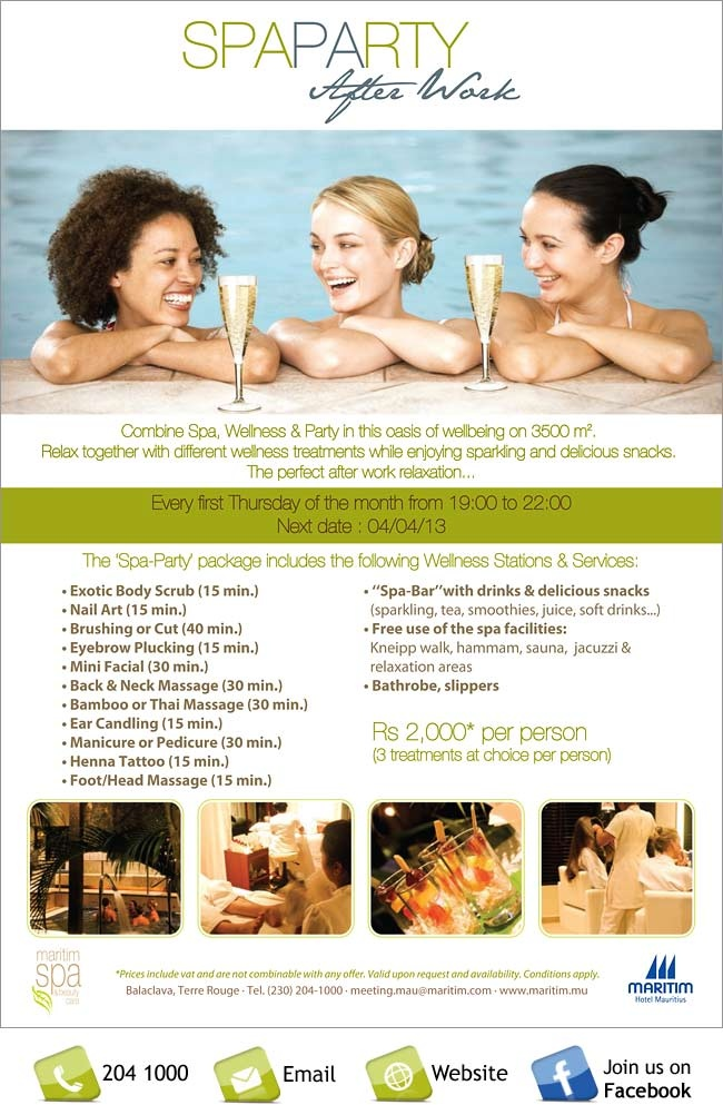 Maritim Hotel Mauritius - New 'After Work Spa Party' at Maritim Tropical Flower Spa. Info: 204 1000