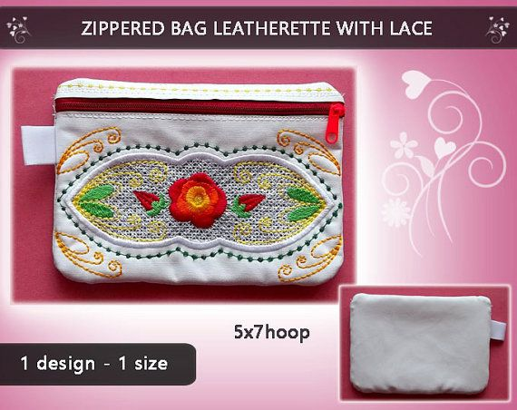 Zippered bag case purse wallet  Leatherette by EmbroideryRady